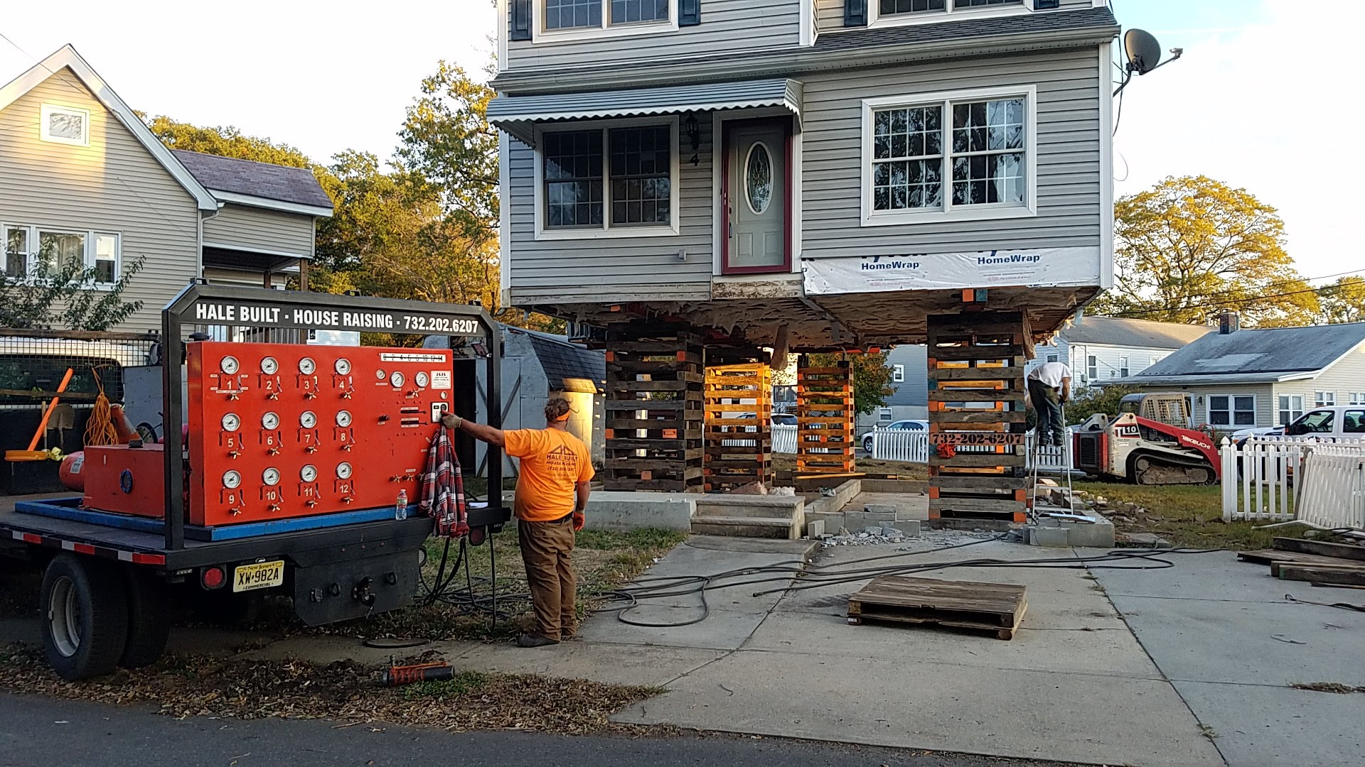House raising in Seaside, NJ. Construction and foundation repair at the Jersey Shore