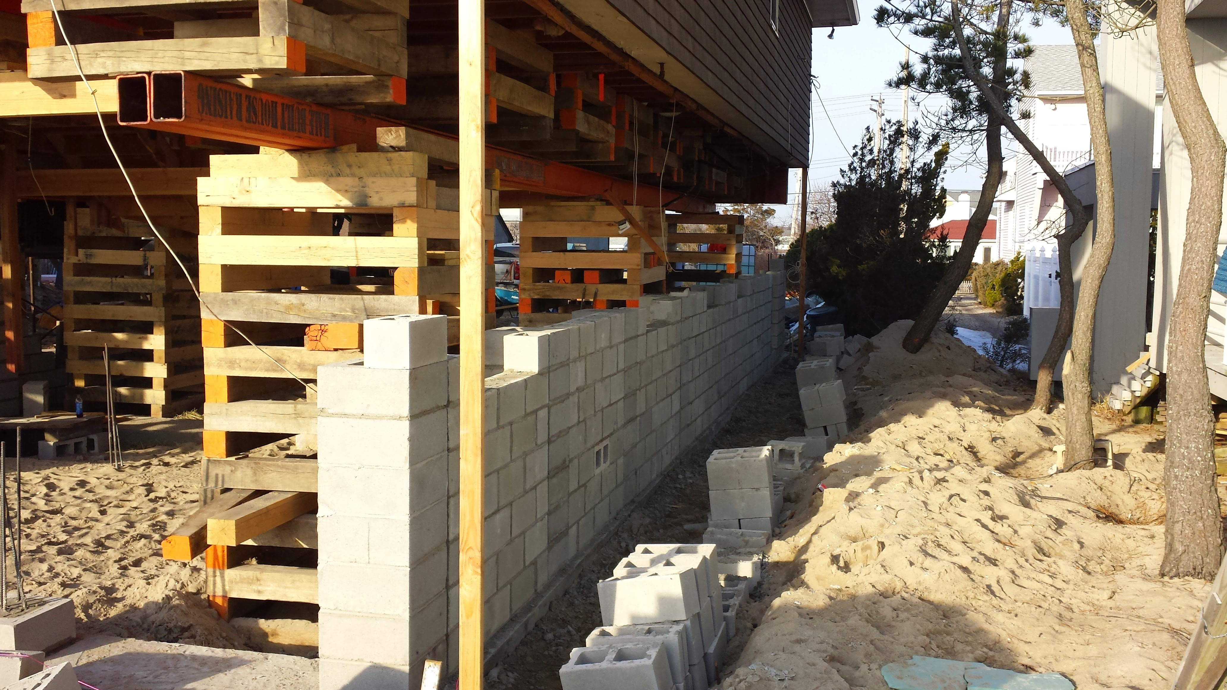 House lifting and new masonry foundation in Cape May, NJ